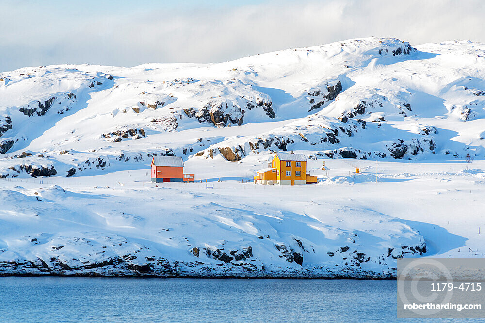 Isolated wood houses in the snow along the fjord during the arctic winter, Oksfjord, Troms og Finnmark, Northern Norway