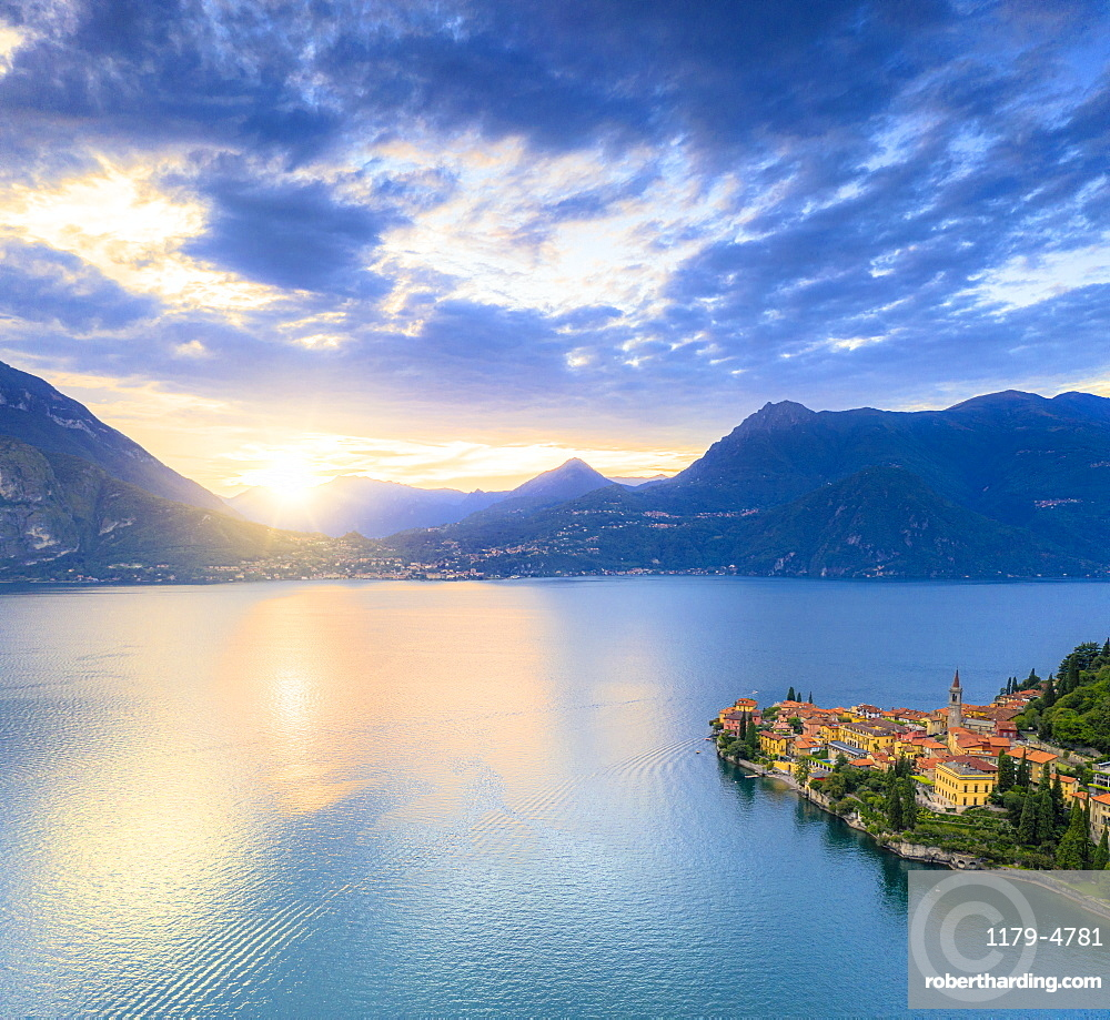 Aerial panoramic of Lake Como and Varenna at sunset, Lecco province, Lombardy, Italy