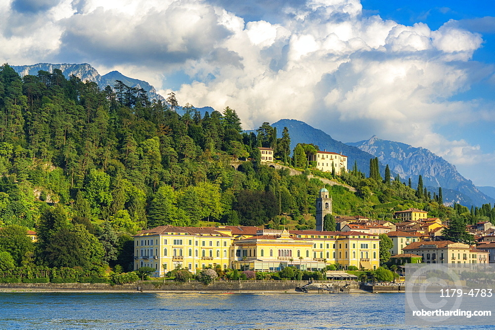 Historical buildings and hotels in the old town of Bellagio seen from ferry boat, Lake Como, Como province, Lombardy, Italy