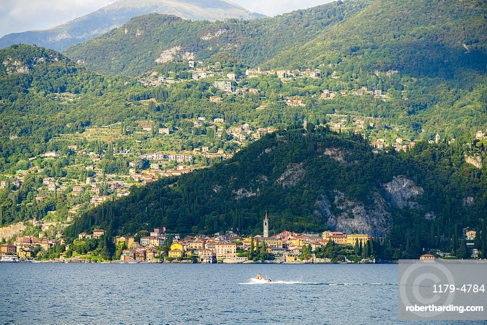 Varenna and villages on hills seen from ferry boat, Lake Como, Lecco province, Lombardy, Italy