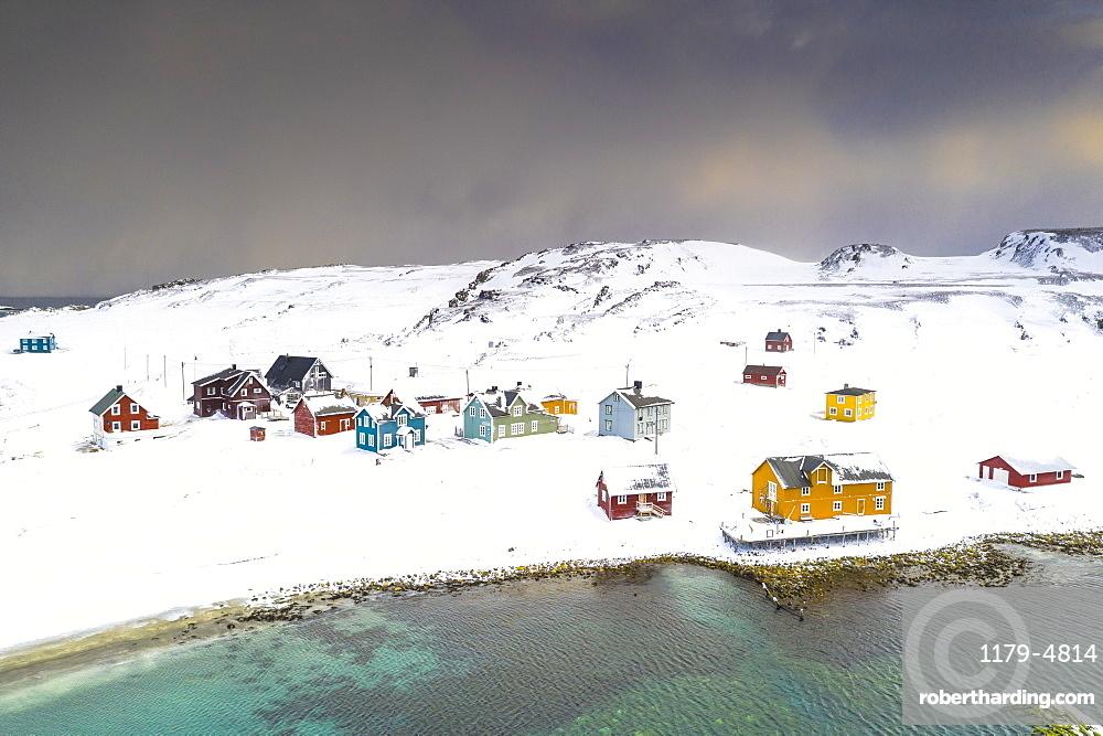 Aerial view of the fishing village of Veines in winter, Kongfjord, Varanger Peninsula, Troms og Finnmark, Norway, Scandinavia, Europe