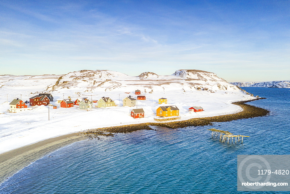 Aerial view of the fishing village of Veines in winter, Kongsfjord, Varanger Peninsula, Finnmark, Norway, Scandinavia, Europe