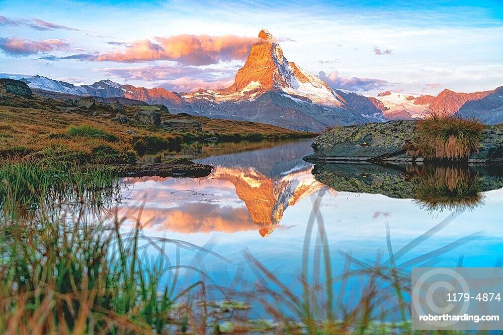 Sunrise over Matterhorn and lake Stellisee, Zermatt, Valais canton, Switzerland