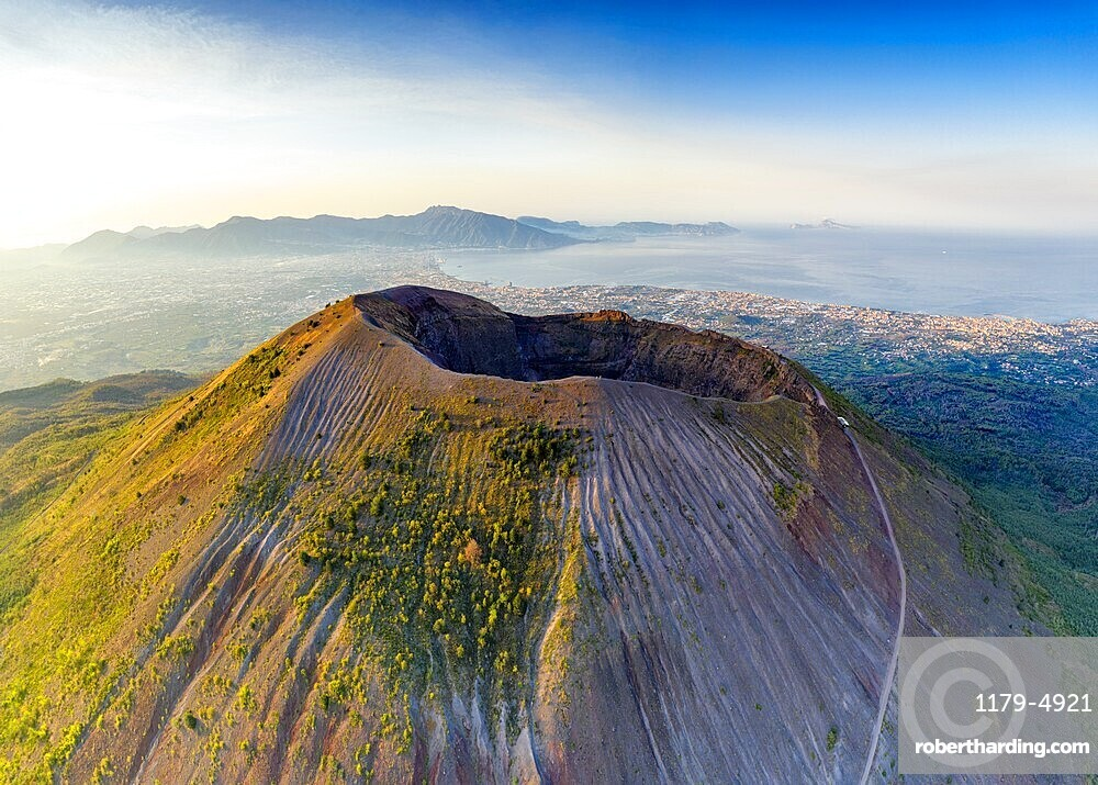 Aerial view of Vesuvius crater and Gulf of Naples at sunrise, Naples, Campania, Italy