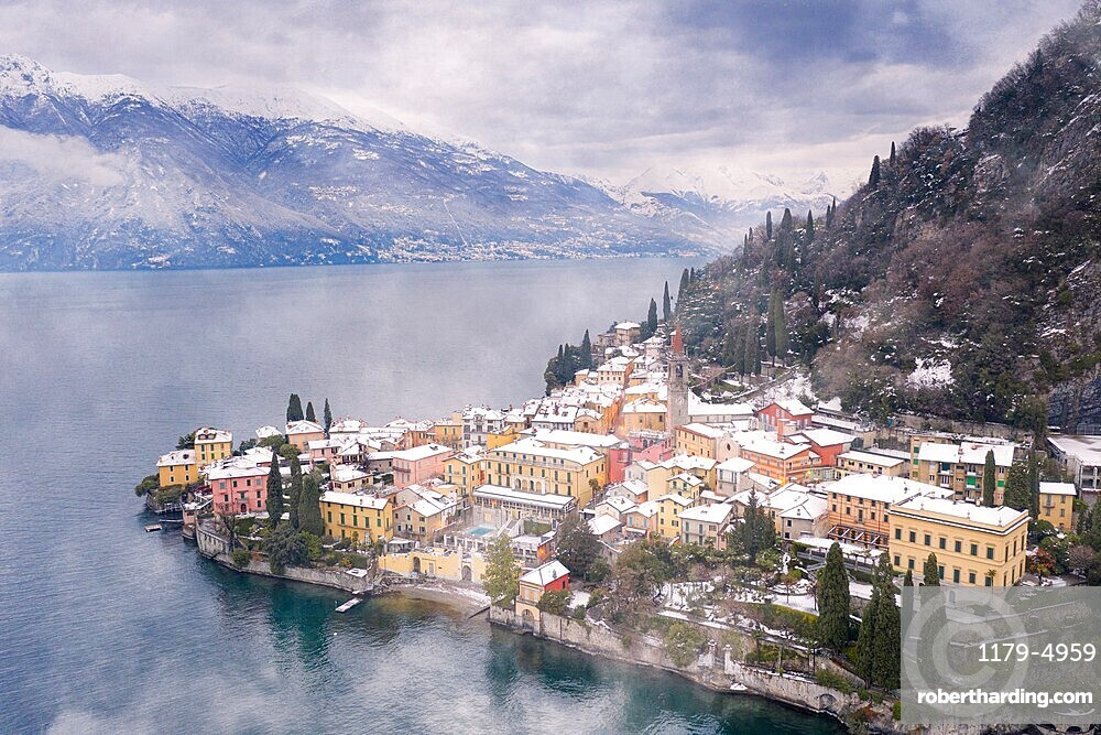 Traditional houses of Varenna old town after a snowfall, Lake Como, Lecco province, Lombardy, Italy