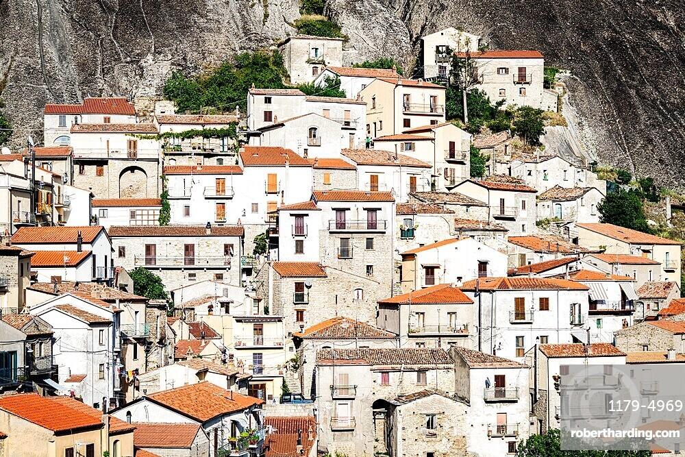 Stone houses in the medieval town of Castelmezzano, Dolomiti Lucane, Potenza province, Basilicata, Italy