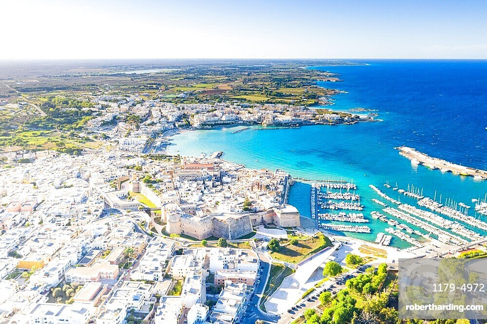 Aerial view of the coastal town of Otranto washed by the turquoise sea, Salento, Lecce province, Apulia, Italy