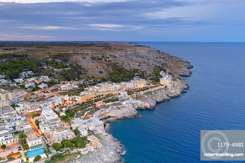 Aerial view of Santa Cesarea Terme at sunset in summer, Lecce province, Salento, Apulia, Italy, Europe