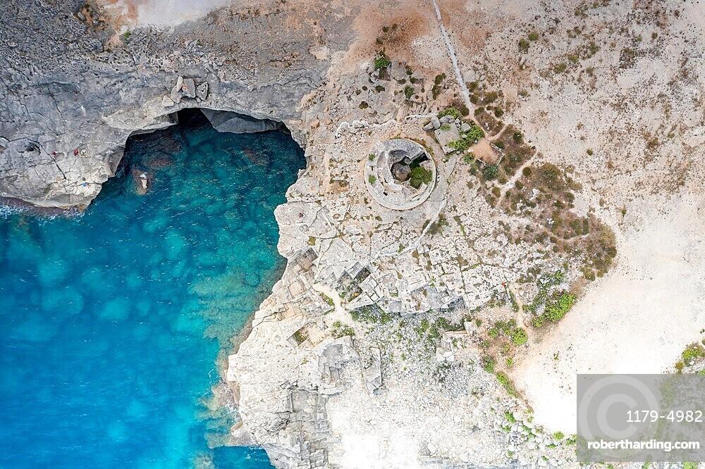 Old stone tower Torre Miggiano and turquoise sea from above, Santa Cesarea Terme, Porto Miggiano, Lecce, Salento, Apulia, Italy, Europe