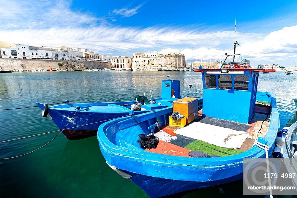 Fishing boats moored in the harbor, Gallipoli, Lecce province, Salento, Apulia, Italy, Europe