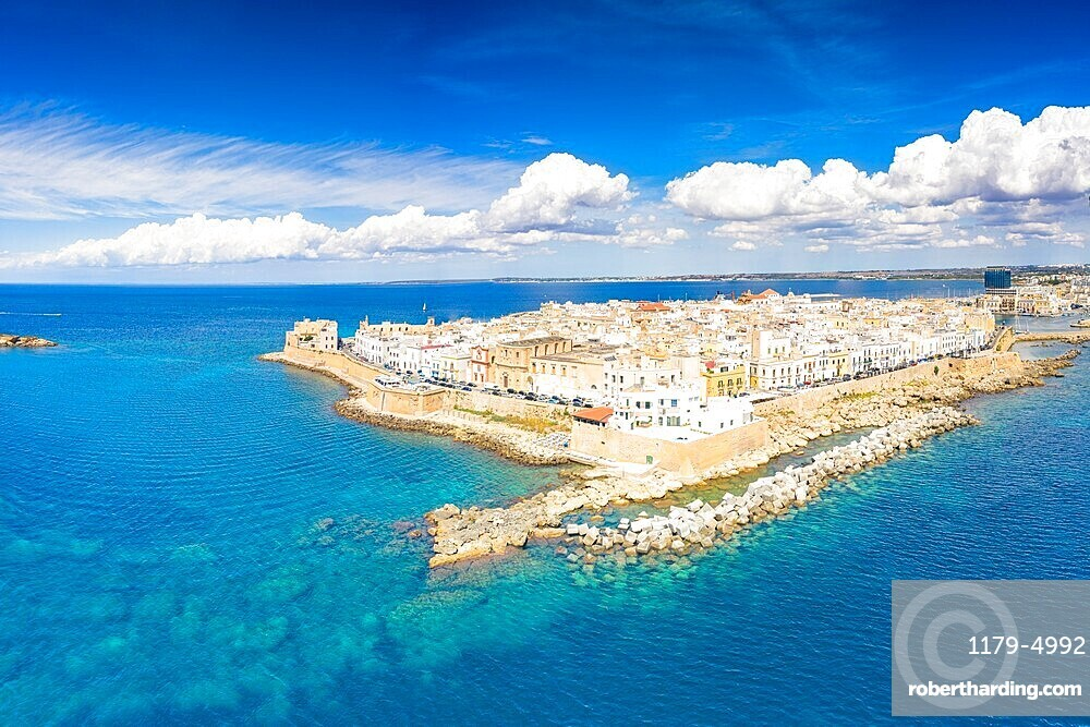 Aerial view of the surrounding walls and old town of Gallipoli in summer, Lecce province, Salento, Apulia, Italy, Europe