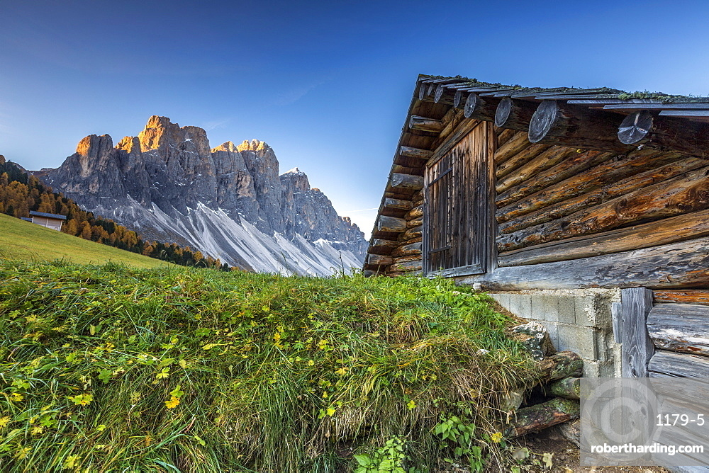 The sunrise over the Odle group from Malga Gampen in the Dolomites, South Tyrol, Italy, Europe