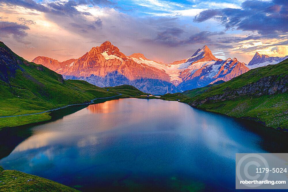 Wetterhorn, Schreckhorn and Finsteraarhorn at sunset from Bachalpsee lake, Grindelwald, Bernese Oberland, Switzerland, Europe