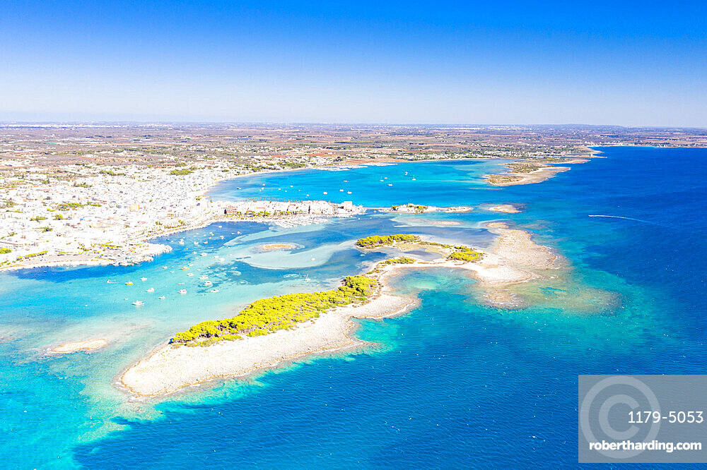 Aerial view of Porto Cesareo coastal town washed by the clear sea, Lecce province, Salento, Apulia, Italy, Europe