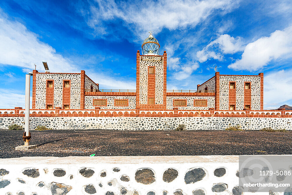 Front view of towers and lantern dome of Entallada lighthouse, Tuineje, Las Palmas, Fuerteventura, Canary Islands, Spain