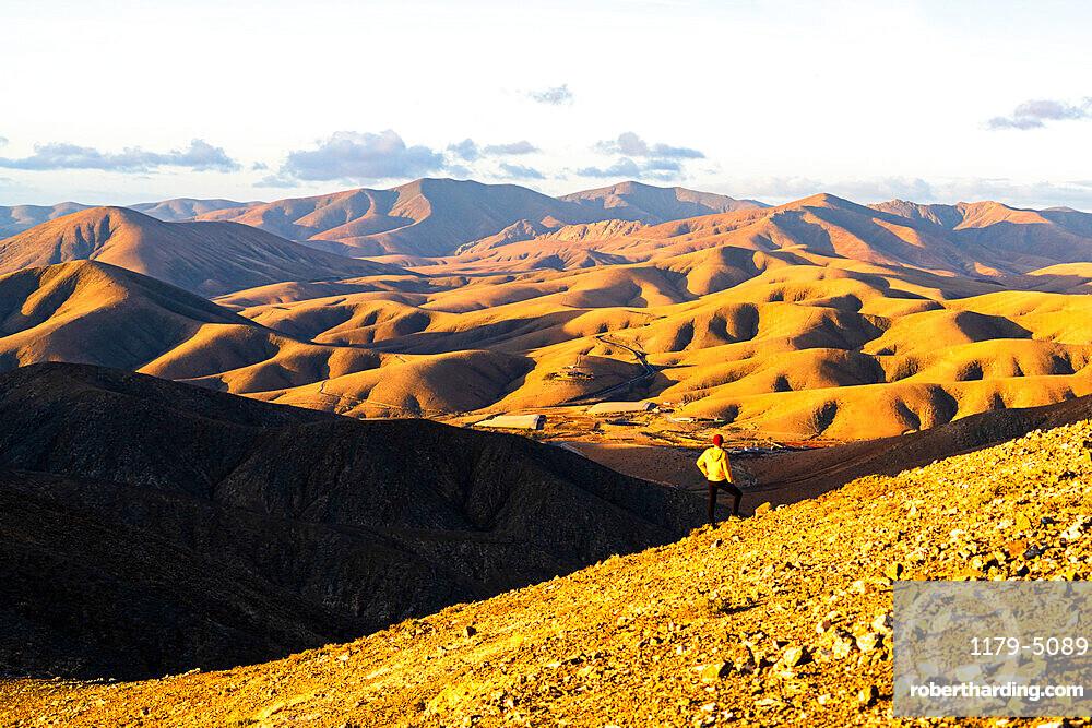 Man on ridge admiring sunset over the volcanic landscape near Sicasumbre viewpoint, Fuerteventura, Canary Islands, Spain