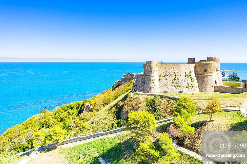 Aerial view of Castello Aragonese castle on headland above the sea, Ortona, province of Chieti, Abruzzo, Italy, Europe