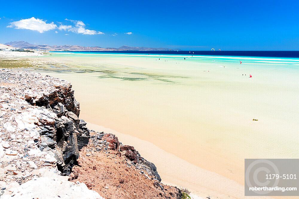 High tide over the white sand beach Playa de Sotavento de Jandia, Fuerteventura, Canary Islands, Spain