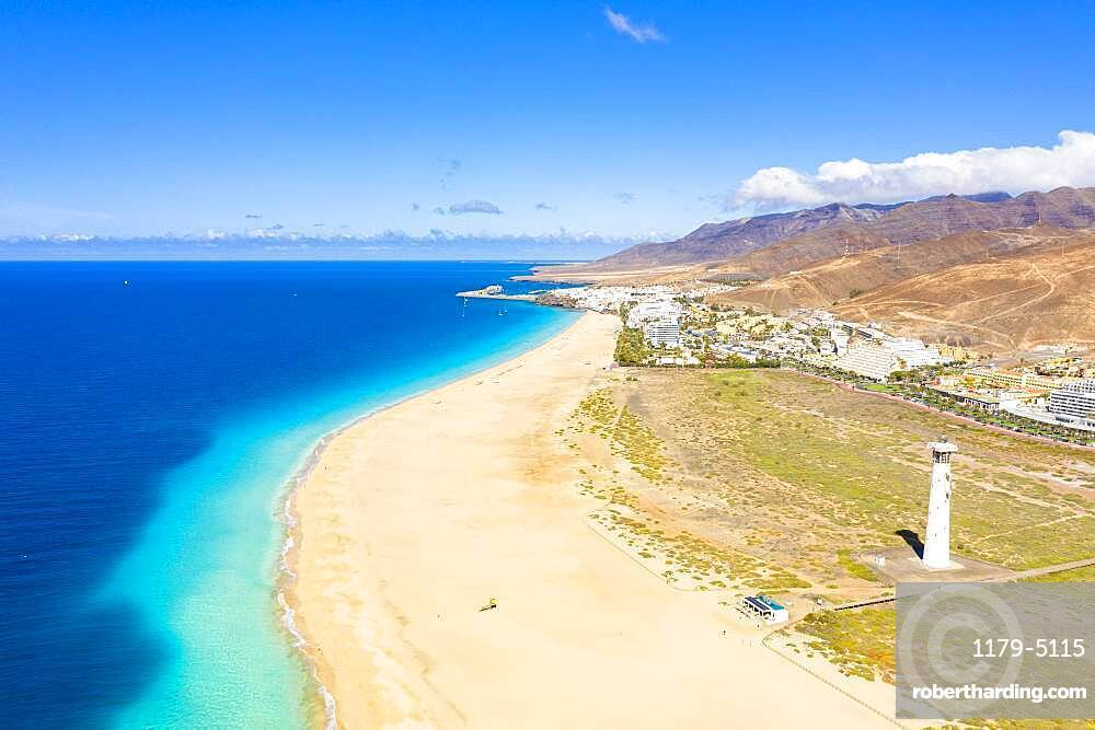 Aerial view of fine sand beach and lighthouse, Morro Jable, Fuerteventura, Canary Islands, Spain
