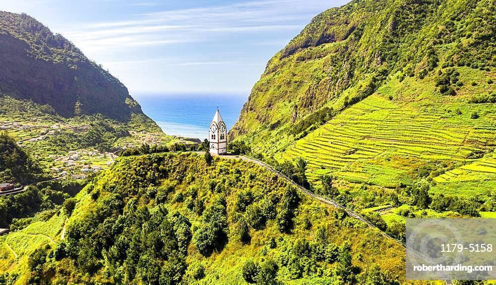 The chapel-tower Nossa Senhora de Fatima on top of green hills, Sao Vicente, Madeira island, Portugal, Atlantic, Europe