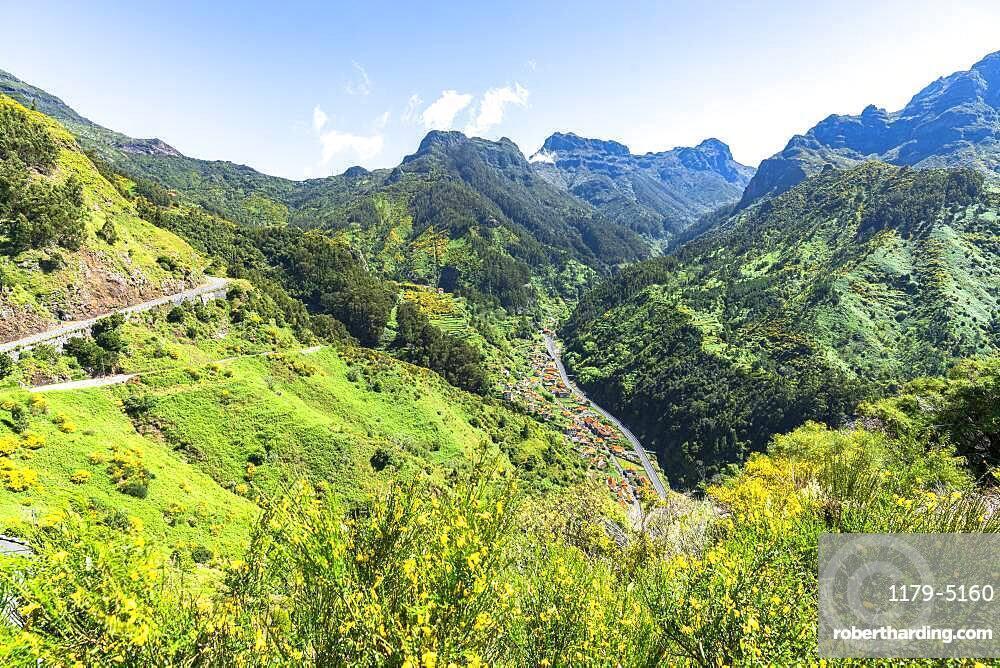 High angle view of Serra de Agua village in the green valley, Ribeira Brava municipality, Madeira island, Portugal