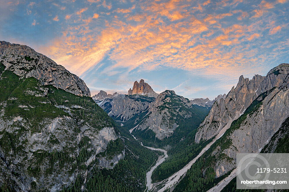 Sunset over Tre Cime di Lavaredo and woods, aerial view, Sesto / Sexten Dolomites, Bolzano province, Trentino Alto Adige, Italy