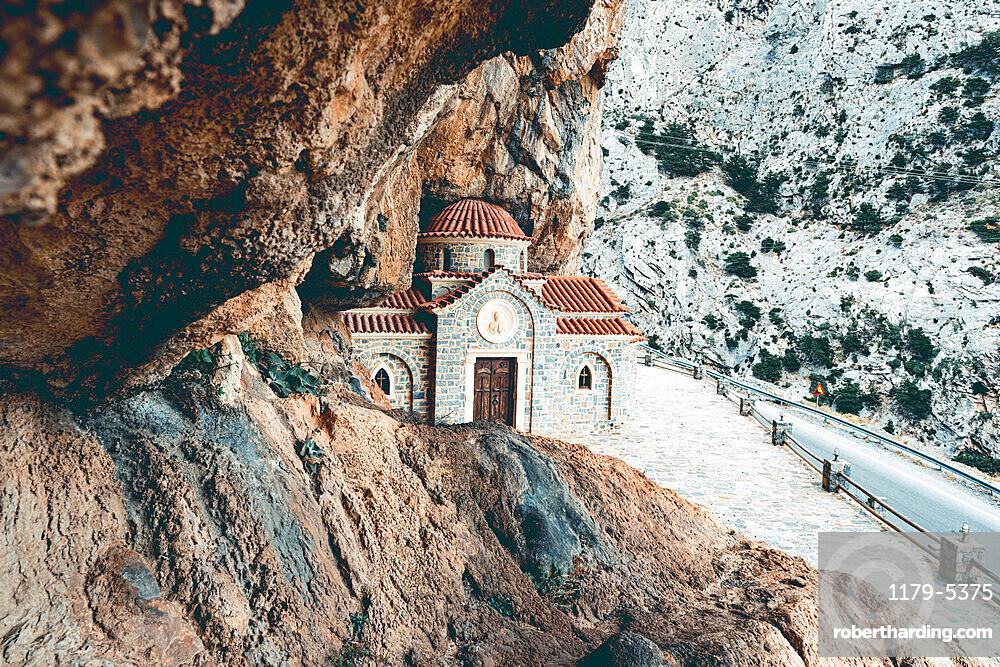 Agios Nikolaos Orthodox church carved into rocks in Kotsifou gorge, Crete island, Greece
