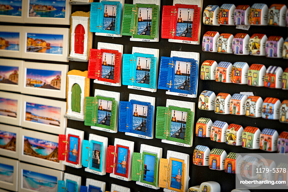 Hand craft magnet souvenirs for tourist in the shops of Chania old town, Crete, Greece