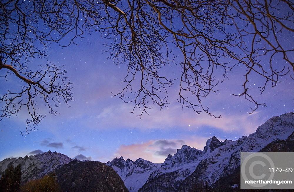 The profiles of Piz Badile, Piz Cengalo and the Sciore in Val Bondasca, Bregaglia Valley, Graubunden, Switzerland, Europe