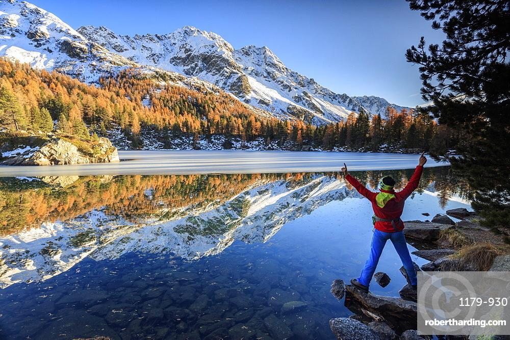 Hiker rejoices in the colourful autumnal landscape around Saoseo Lake, Poschiavo Valley, Canton of Graubuenden, Switzerland, Europe