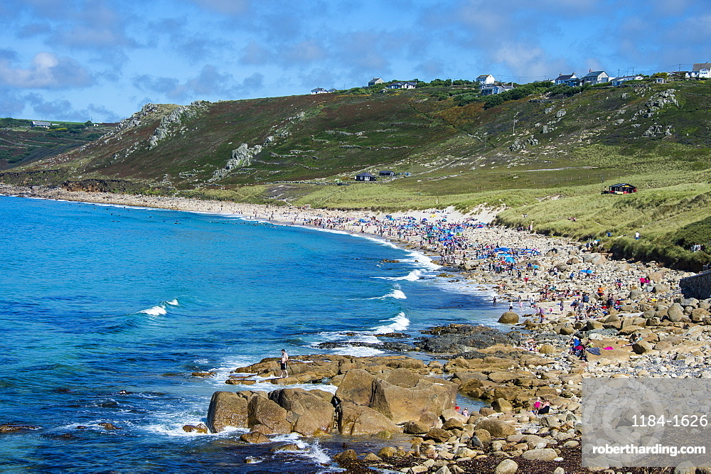 Overlook over Sennen Cove, Cornwall, England, United Kingdom, Europe