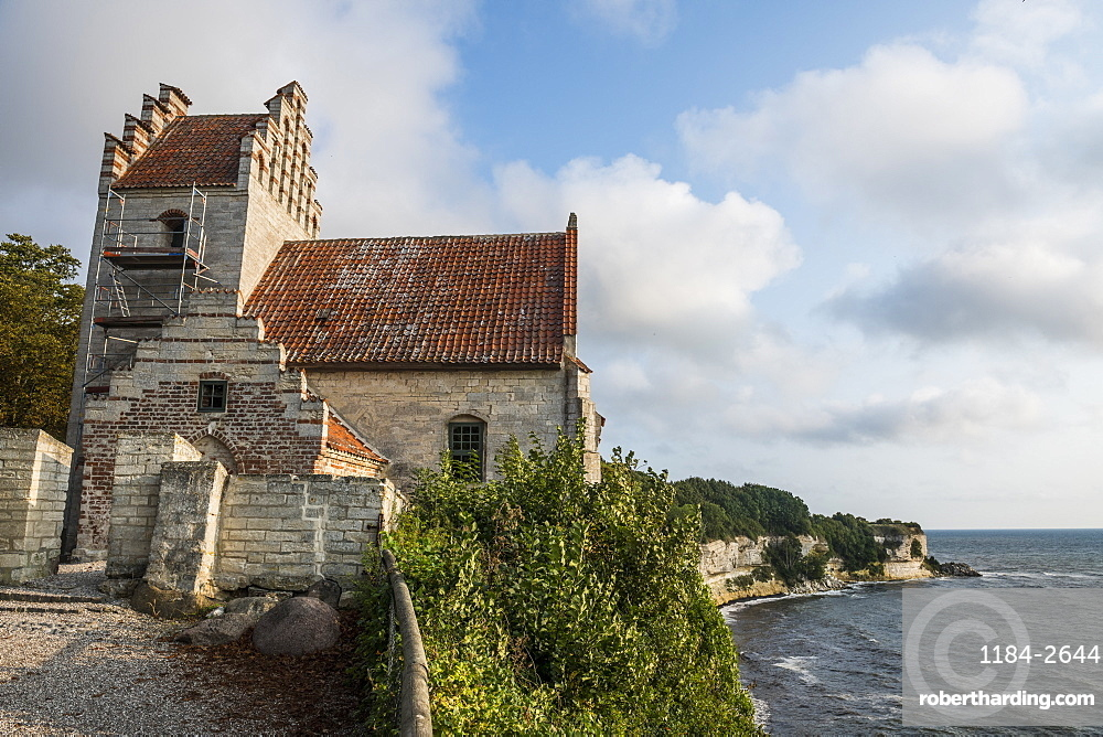 Old Hojerup church on top of Stevns Klint, UNESCO World Heritage Site, Zealand, Denmark, Scandinavia, Europe