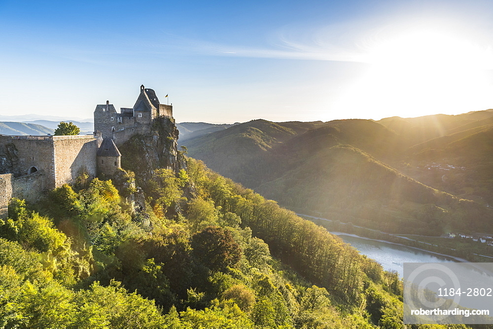 Castle Aggstein overlooking the River Danube in the Wachau at sunset, Austria, Europe