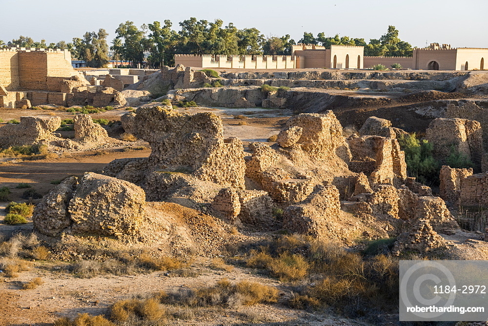 Old brick structures, Babylon, Iraq, Middle East