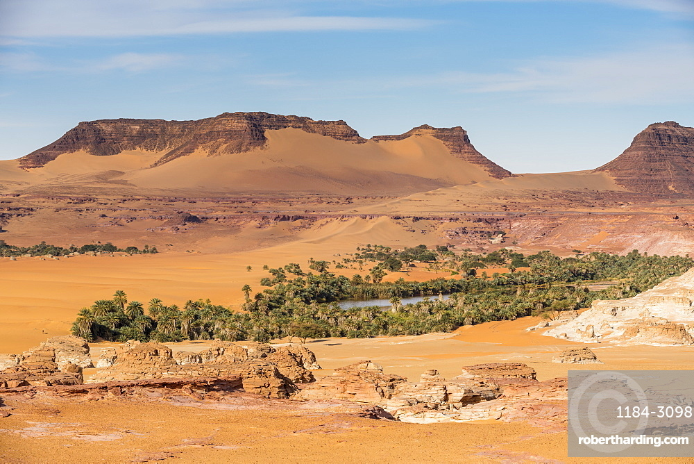 View over a salt water lake surrounded by the desert, Northern Chad, Africa
