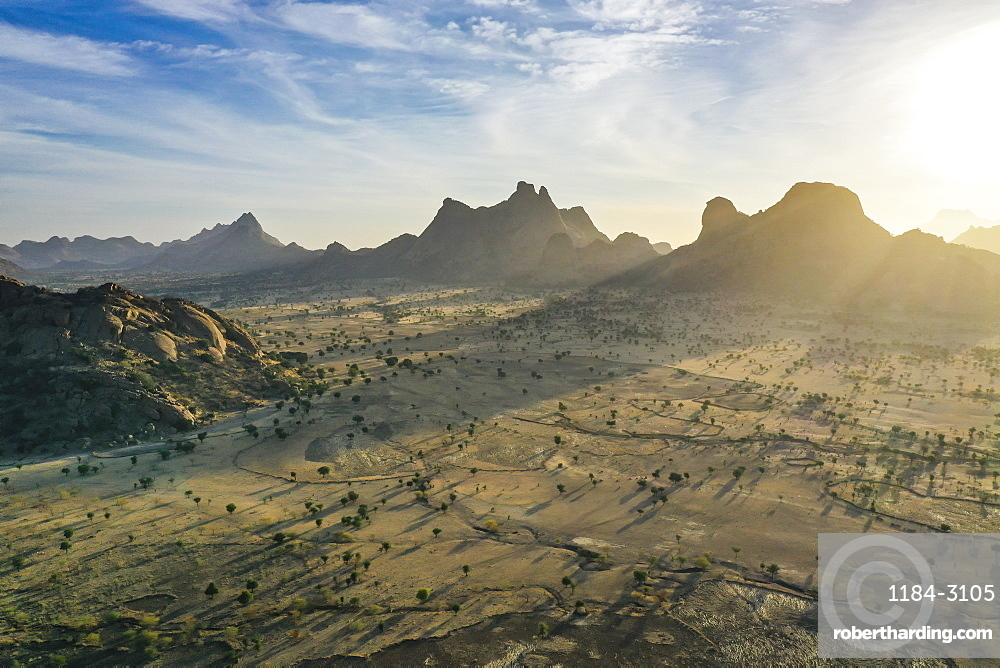 Aerial of beautiful mountain scenery, Sahel, Chad, Africa