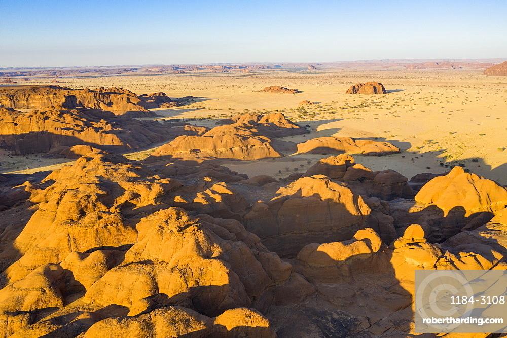 Aerial of the Ennedi Plateau, UNESCO World Heritage Site, Ennedi region, Chad, Africa
