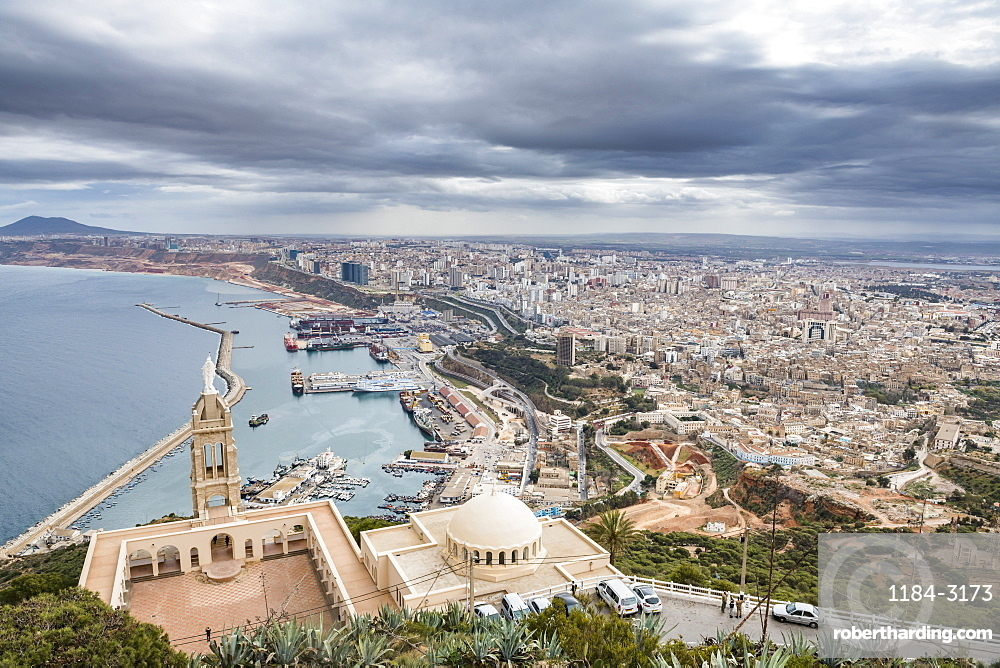 View over Oran with the Santa Cruz Cathedral in the foreground, Oran, Algeria, North Africa, Africa