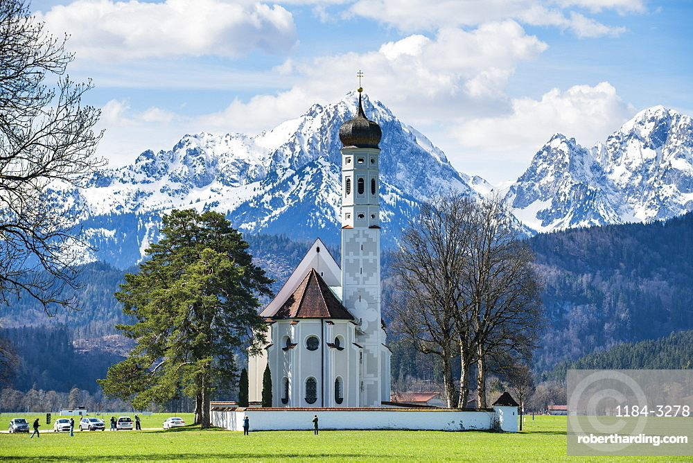Catholic Church of St. Coloman with the Alps behind, Schwangau, Bavaria, Germany, Europe