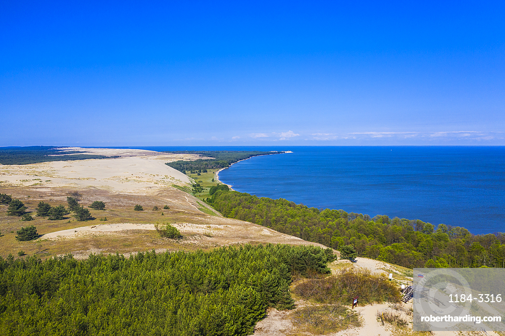 Aerial by drone of the Curonian Spit National Park, UNESCO World Heritage Site, Kaliningrad, Russia, Europe
