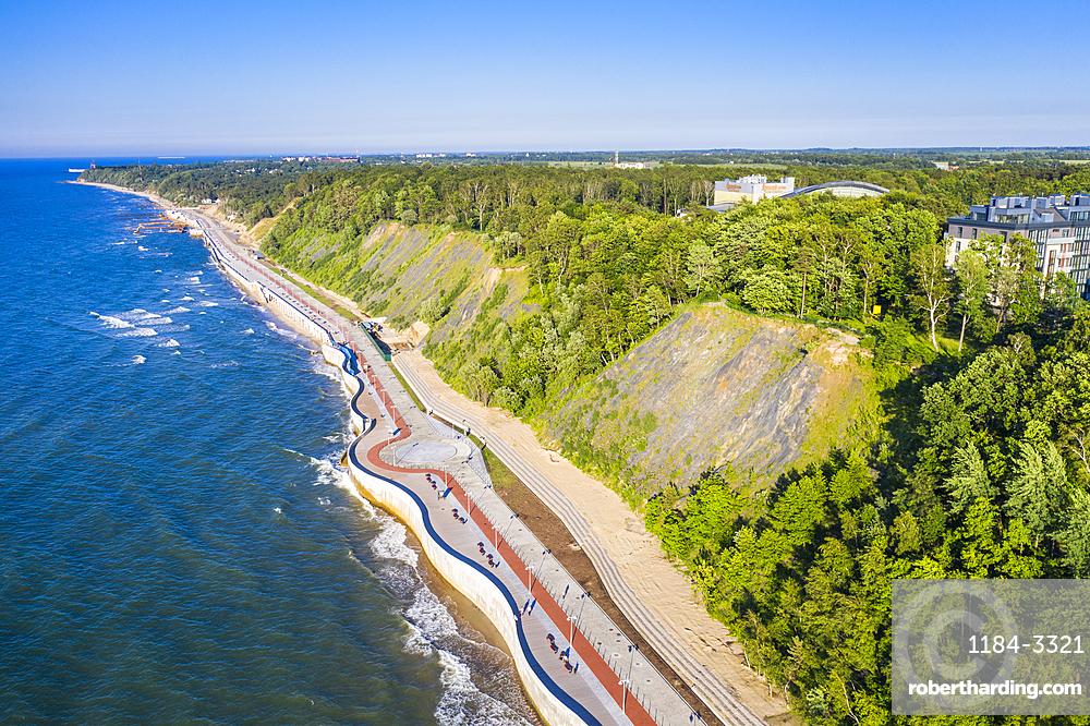 Aerial by drone of the coastline of Svetlogorsk, Kaliningrad, Russia, Europe