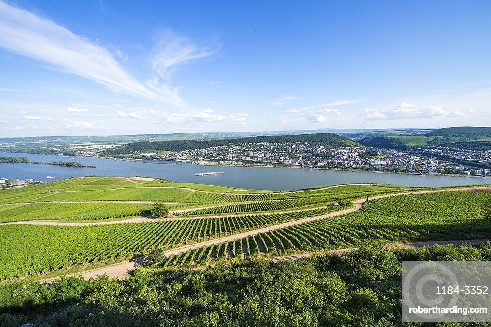 View over the River Rhine from the Niederwalddenkmal monument, UNESCO World Heritage Site, Middle Rhine valley, Germany, Europe
