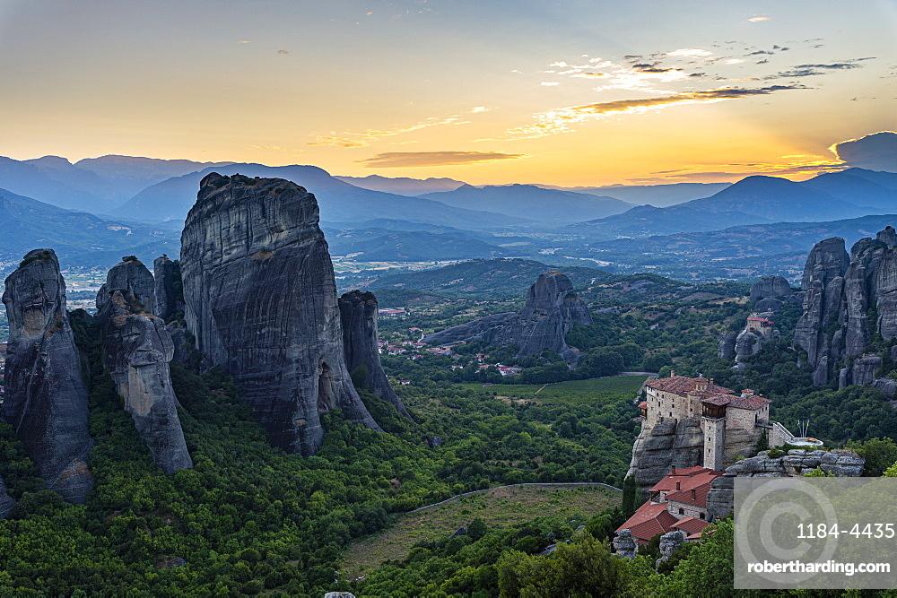 Holy Monastery of St. Nicholas Anapafsas at sunset, Unesco world heritage site Meteora monateries, Greece