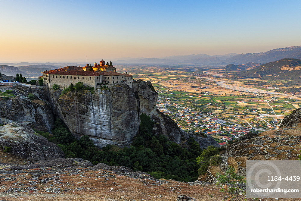 Holy Monastery of St. Stephen at sunset, Unesco world heritage site Meteora monateries, Greece