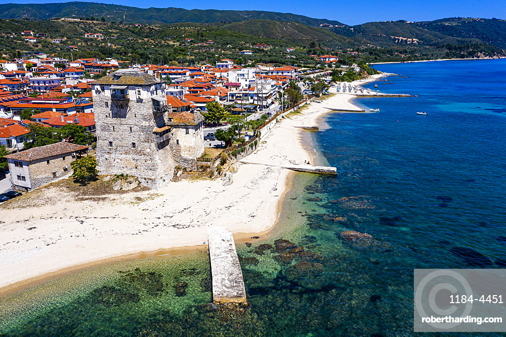 Aeriall of the tower of Prosphorion, Ouranopoli, Unesco world heritage site Mount Athos, Greece (drone)