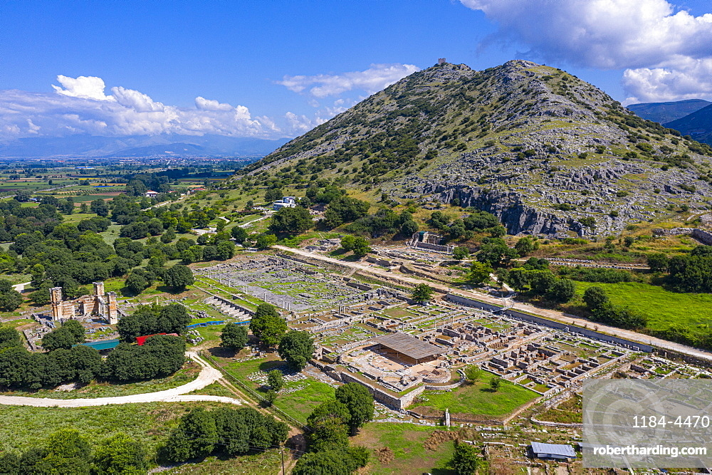 Aerial by drone of Philippi, UNESCO World Heritage Site, Macedonia, Greece, Europe