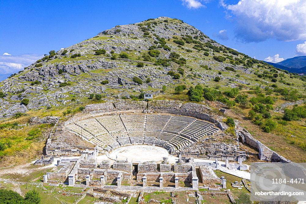 Aerial of the Amphitheatre, Unesco world heritage site Philippi, Macedonia, Greece (drone)