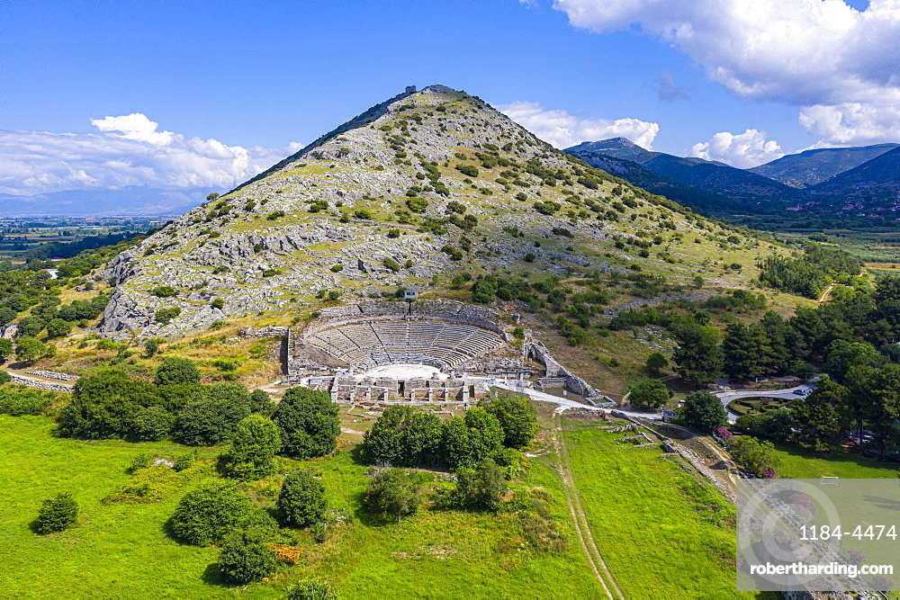 Aerial of the Unesco world heritage site Philippi, Macedonia, Greece (drone)