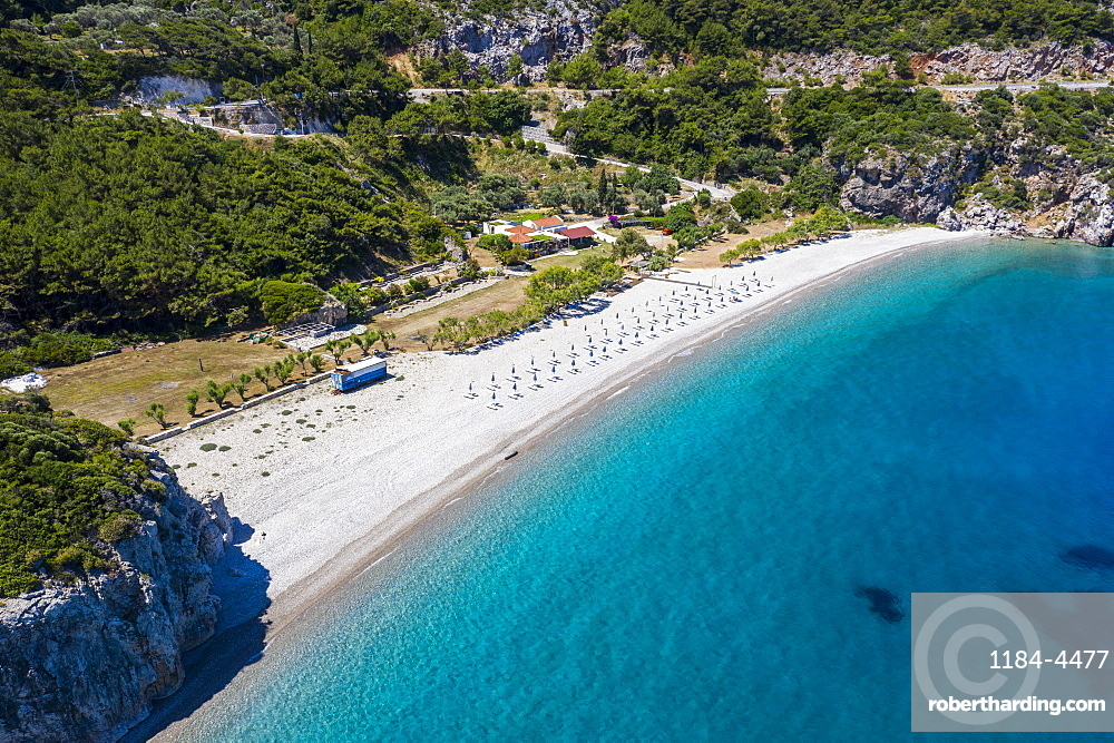 Aerial of Tsambou Beach, Samos, Greece (drone)