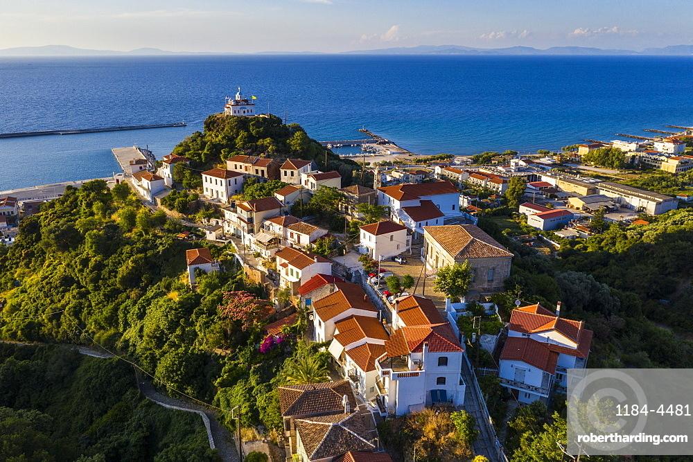 Aerial of Agia Triada church, , Paleo Karlovasi, Samos, Greece (drone)